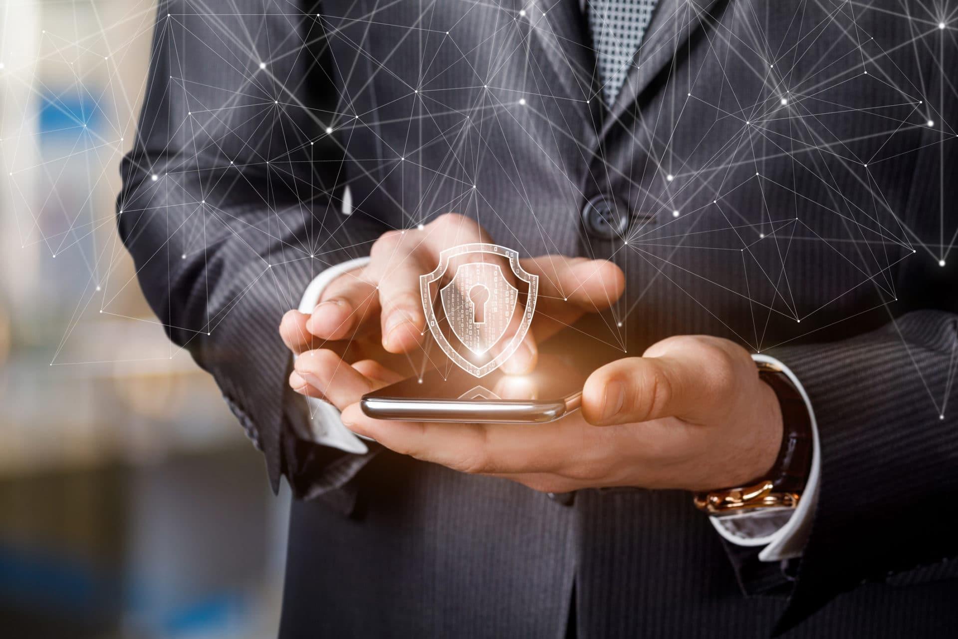 Businessman Working In Secure VPN